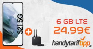 Samsung Galaxy S21 5G & Samsung Starter Kit für Galaxy S21 für einmalig 199 Euro mit 6 GB LTE im Telekom Netz nur 24,99€ monatlich