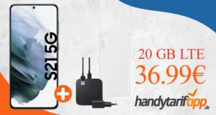 Samsung Galaxy S21 5G & Samsung Starter Kit für Galaxy S21 mit 20 GB LTE im Telekom oder Vodafone Netz nur 36,99€ monatlich - einmalig 99 Euro
