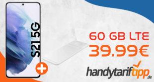 Samsung Galaxy S21 5G & Samsung Trio Charger mit 60 GB LTE nur 39,99€ monatlich - nur 1 Euro Zuzahlung & 100€ Wechselbonus