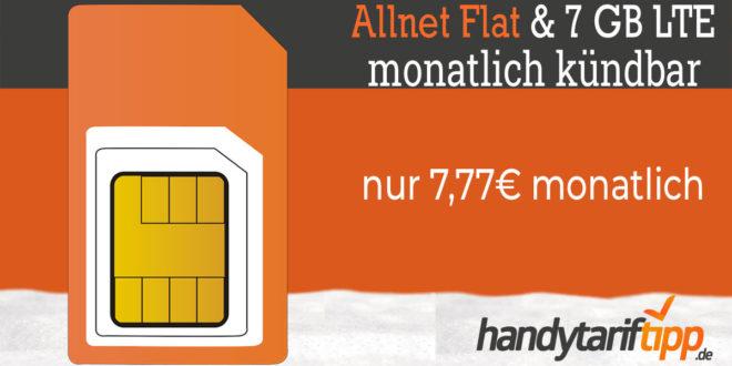 Sim Only Knaller! 7 GB LTE & Allnet Flat nur 7,77€ monatlich - monatlich kündbar