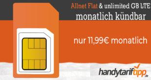 Unlimited LTE mit bis zu 2 Mbits - monatlich kündbar - nur 11,99€ monatlich