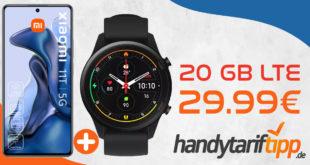 Xiaomi 11T Pro 5G & Xiaomi Mi Watch mit 20 GB LTE nur 29,99€ monatlich - nur 29 Euro Zuzahlung & 100€ Wechselbonus