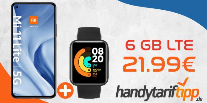 Xiaomi Mi 11 Lite 5G & Xiaomi Mi Watch Lite mit 6 GB LTE im Telekom Netz nur 21,99€ monatlich - nur 1 Euro Zuzahlung