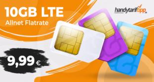 10GB LTE & Allnet Flat - monatlich kündbar - nur 9,99€ monatlich