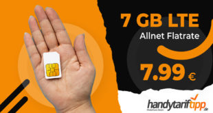 LTE Allnet 7 GB - ohne Vertragslaufzeit - nur 7,99€ monatlich