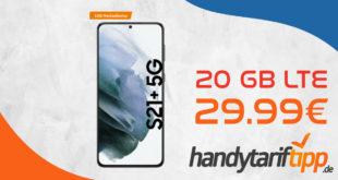 MEGA DEAL! Samsung Galaxy S21+ 5G (S21Plus) mit 20 GB LTE5G & 100€ Wechselbonus nur 29,99€ monatlich