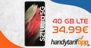 MEGA DEAL! Samsung Galaxy S21 Ultra 5G mit 40 GB LTE5G & 100€ Wechselbonus nur 34,99€ monatlich - nur 99 Euro Zuzahlung