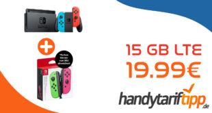 Nintendo Switch Konsole Rot Blau (neue Version) & Nintendo Switch Joy-Con 2er-Set Controller mit 15 GB LTE nur 19,99€ monatlich