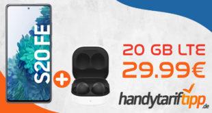 Samsung Galaxy S20 FE & Samsung Galaxy Buds2 & 100€ Wechselbonus mit 20 GB LTE5G nur 29,99€ monatlich