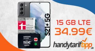 Samsung Galaxy S21+ 5G (S21Plus) & 100€ Wechselprämie mit 15 GB LTE nur 34,99€ monatlich - 99 Euro einmalig
