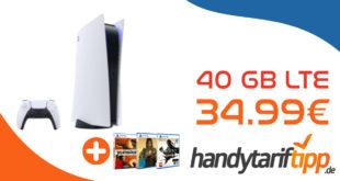 Sony PlayStation 5 Disc Edition & Sony PS5 Spielebundle mit 40 GB LTE5G & 100€ Wechselbonus nur 34,99€ monatlich - nur 99 Euro Zuzahlung
