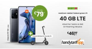 Xiaomi 11T 5G Dual SIM & Xiaomi Mi Electric Scooter 1S mit 40 GB LTE im Telekom Netz nur 46,99€ monatlich - nur 79 Euro Zuzahlung